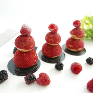 Raspberry Cookies Choux Puff